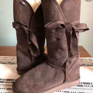 EMU Tall Suede ribbon closure boots